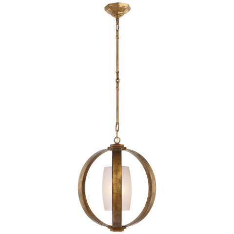 Metal Banded Lantern in Gilded Iron with Frosted Glass