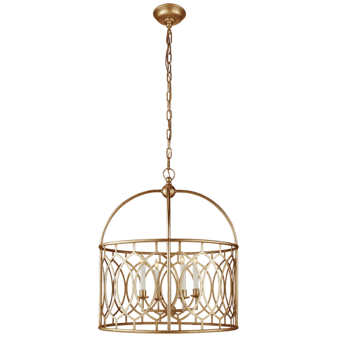 Marquise Wide Lantern in Gilded Iron