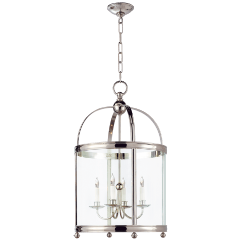 Edwardian Arch Top Medium Lantern in Polished Nickel