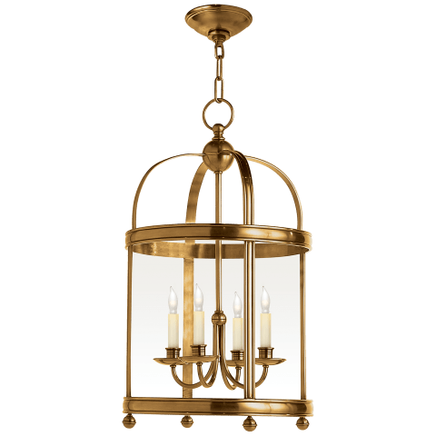 Edwardian Arch Top Small Lantern in Antique-Burnished Brass