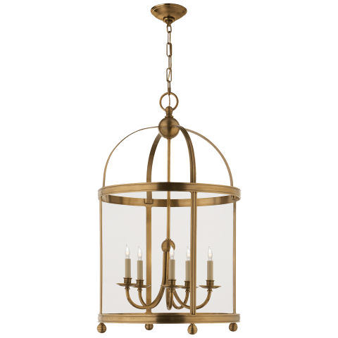 Edwardian Arch Top Large Lantern in Antique-Burnished Brass
