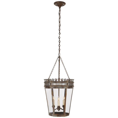 Warwick Medium Lantern in Weathered Verdigris with Clear Glass
