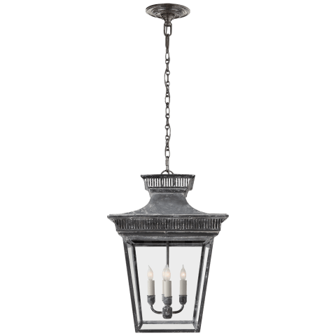 Elsinore Medium Hanging Lantern in Weathered Zinc with Clear Glass