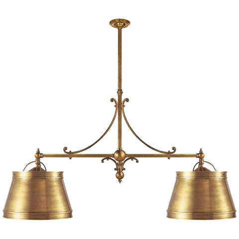 Sloane Double Shop Pendant in Antique-Burnished Brass with Antique-Burnished Brass Shades
