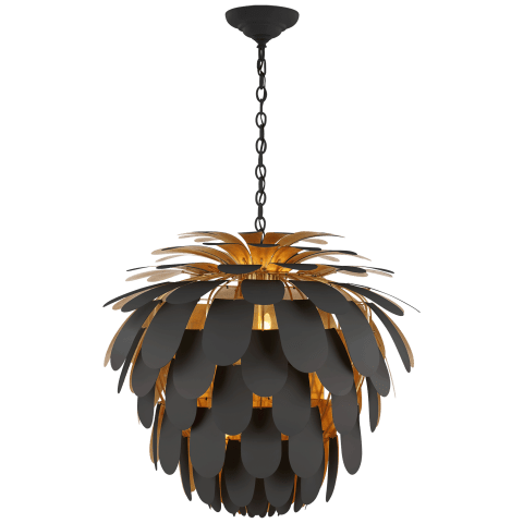 Cynara Grande Chandelier in Matte Black and Gild