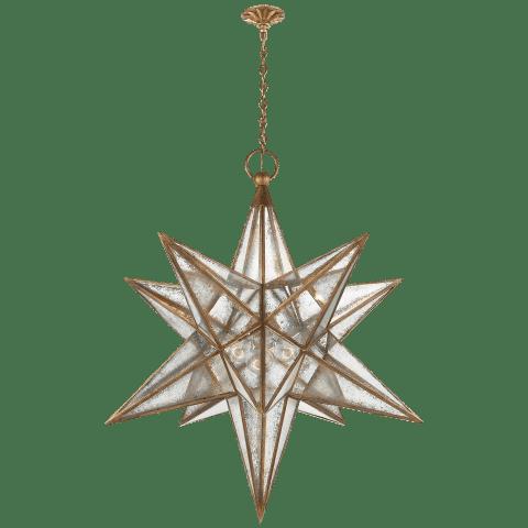 Moravian XL Star Lantern in Aged Iron with Antique Mirror