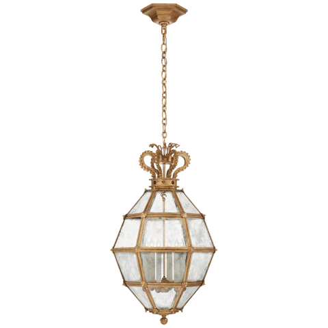 Venezia Medium Faceted Scroll-Top Lantern in Gilded Iron with Antique Mirror