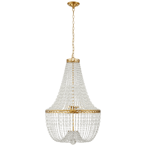 Linfort Basket Form Chandelier in Antique-Burnished Brass with Clear Glass Trim