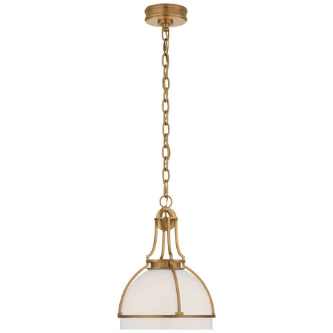 Gracie Medium Dome Pendant in Antique-Burnished Brass with White Glass
