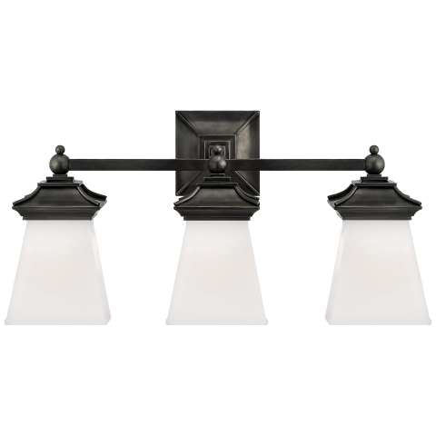 Chinoiserie Triple Light in Bronze with White Glass