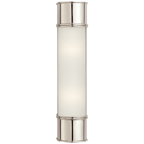 "Oxford 18"" Bath Sconce in Polished Nickel with Frosted Glass"