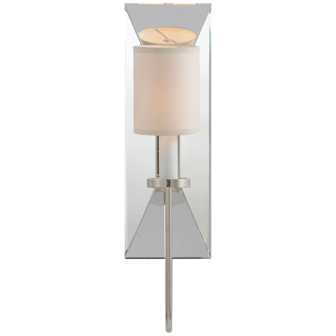 Cotswold Narrow Mirrored Sconce in Polished Nickel with Natural Paper Shade