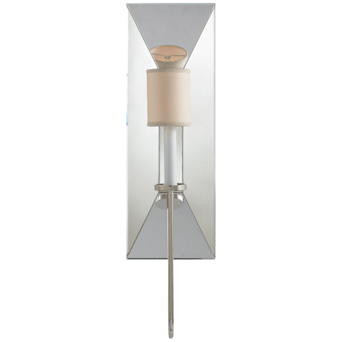 Cotswold Large Mirrored Sconce in Polished Nickel with Natural Paper Shade