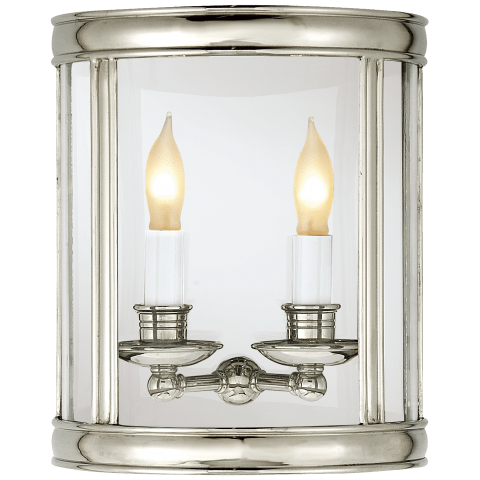 Edwardian Medium Half Round Wall Lantern in Polished Nickel
