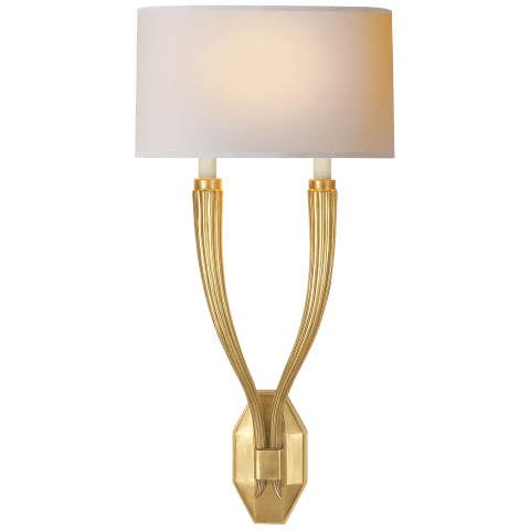 Ruhlmann Double Sconce in Antique-Burnished Brass with Natural Paper Shade