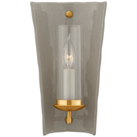 Downey Small Reflector Sconce in Shellish Gray and Gild with Clear Glass