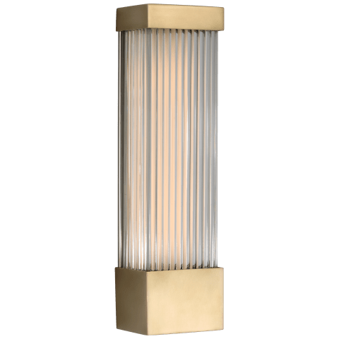 "Vance 13"" Sconce in Antique-Burnished Brass with Clear Glass Rods"
