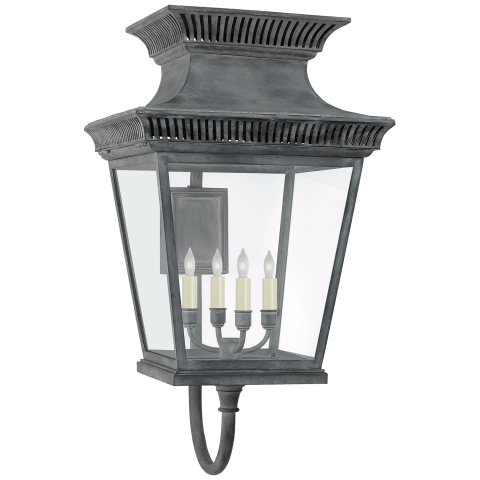 Elsinore Large Bracket Lantern in Weathered Zinc with Clear Glass