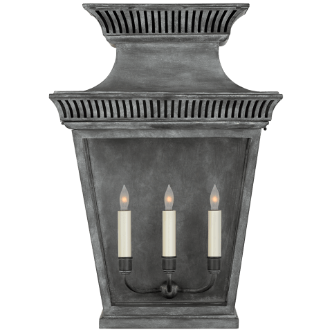 Elsinore Large 3/4 Wall Lantern in Weathered Zinc with Clear Glass