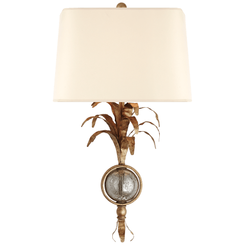 Gramercy Sconce with Shade in Gilded Iron with Natural Paper Shade