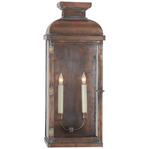 Suffork Wide Tall Scroll 3/4 Lantern in Natural Copper
