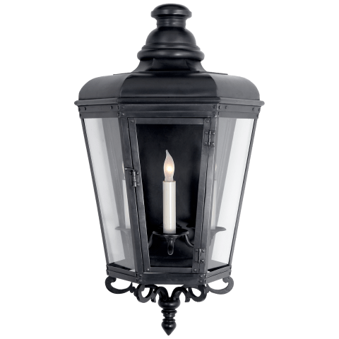 Menzel Medium 3/4 Wall Lantern in Blackened Copper with Clear Glass