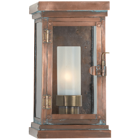 Somerset Small Modern Lantern in Natural Copper