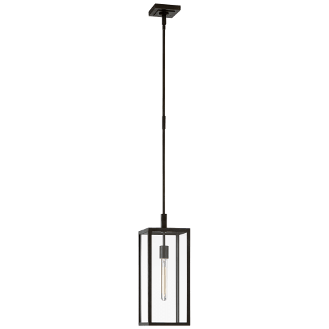 Fresno Small Hanging Lantern in Aged Iron with Clear Glass