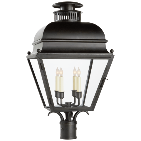 Holborn Medium Post Light in Aged Iron with Clear Glass