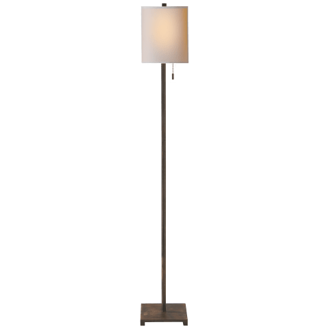 Tribeca Floor Lamp in Aged Iron with Natural Paper Shade