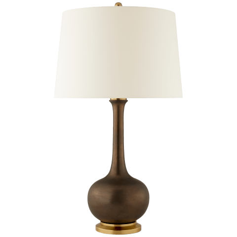 Coy Large Table Lamp in Matte Bronze with Natural Percale Shade