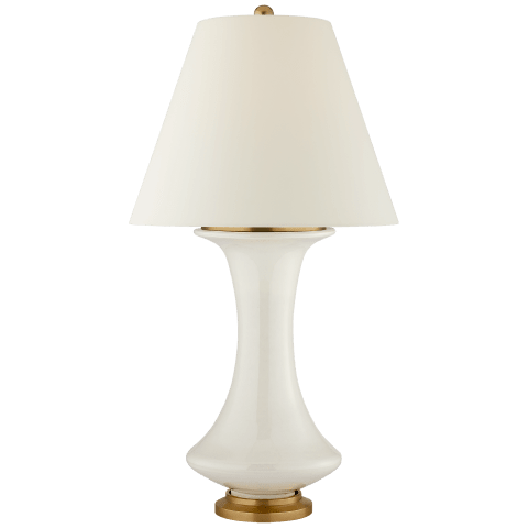 Nota Medium Table Lamp in Ivory with Natural Percale Shade