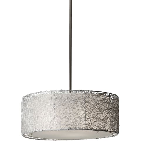 Wired 3-Light Chandelier Brushed Steel