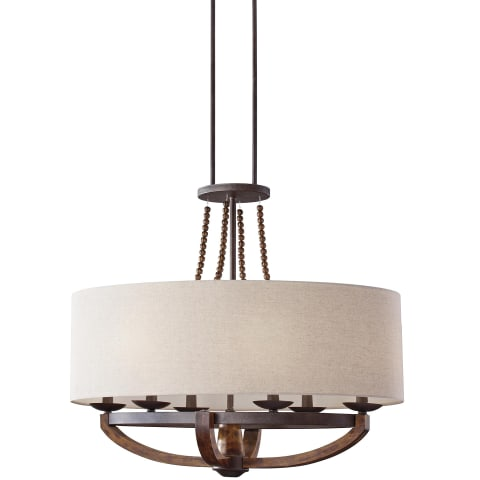 Adan 6 - Light Single Tier Chandelier Rustic Iron / Burnished Wood