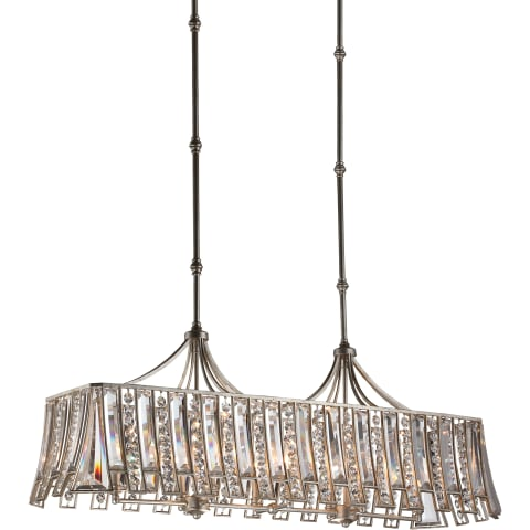 Soros 8 - Light Island Chandelier Ebonized Silver Leaf