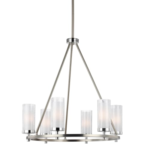 Jonah Medium Chandelier Satin Nickel / Chrome Bulbs Inc