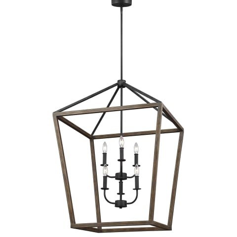Gannet 6 - Light Chandelier Weathered Oak Wood / Antique Forged Iron