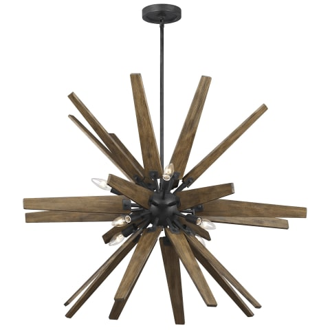 Thorne 8-Light Chandelier Dark Weathered Zinc / Weathered Oak