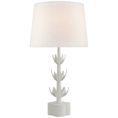 Alberto Large Triple Table Lamp in Plaster White with Linen Shade