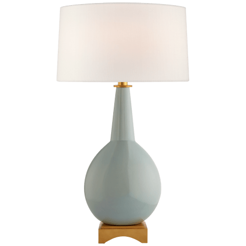 Antoine Large Table Lamp in Pale Blue with Linen Shade