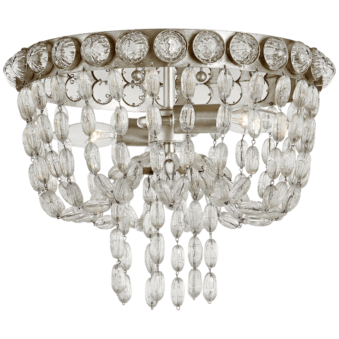 Navona Small Basket Flush Mount in Burnished Silver Leaf and Crystal