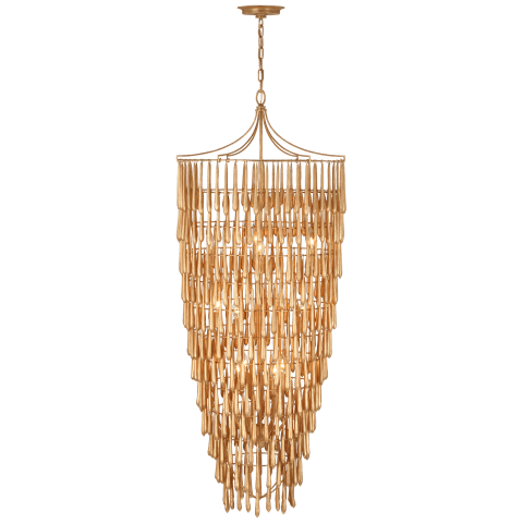 Vacarro Tall Cascading Chandelier in Antique Gold Leaf