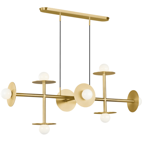 Nodes 8 - Light Linear Chandelier Burnished Brass