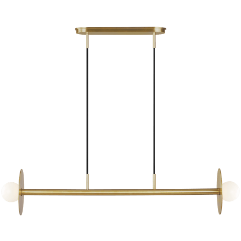 Nodes 2 - Light Linear Chandelier Burnished Brass