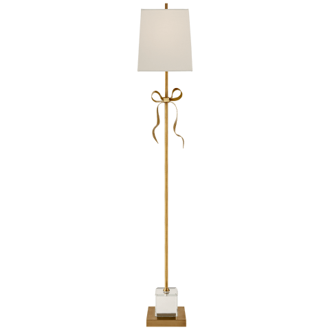 Ellery Gros-Grain Bow Floor Lamp in Soft Brass and Mirror with Cream Linen Shade
