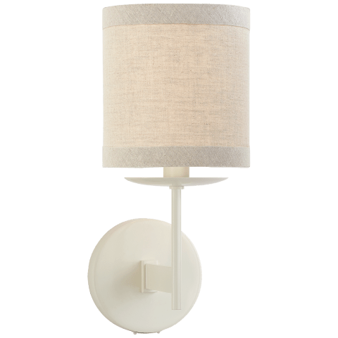 Walker Small Sconce in Light Cream with Natural Linen Shade