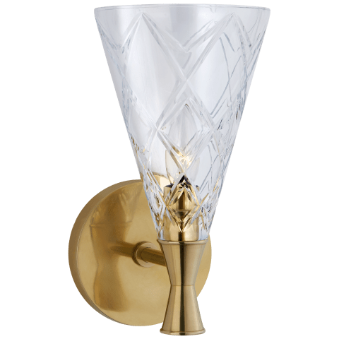 Darcy Single Sconce in Soft Brass with Crystal
