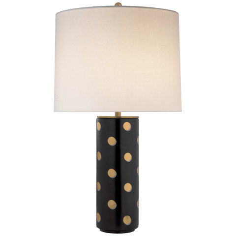 Pavillion Dot Cylinder Table Lamp in Satin Black with Cream Linen Shade