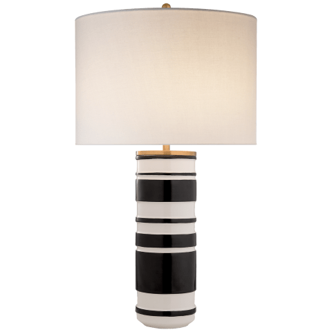 Hayes Sculpted Cylinder Table Lamp in White Leather Ceramic and Satin Black with Cream Linen Shade