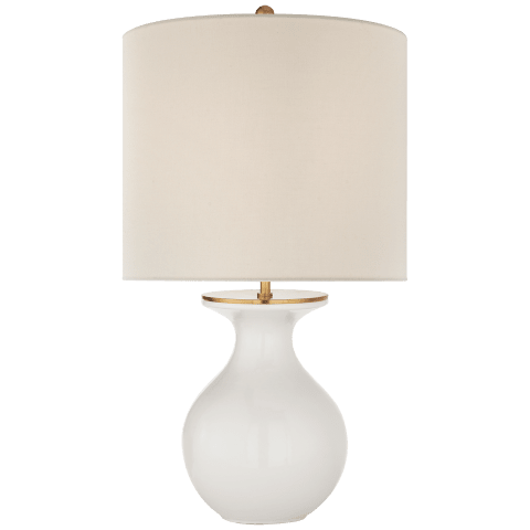 Albie Small Desk Lamp in New White with Cream Linen Shade